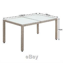 La Table De Salle À Manger De Meubles De Jardin De Rotin Poly A Placé L'osier Extérieur Beige Gris