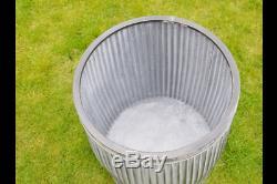 Large Round Vintage Métal Galvanisé Barrel Planters Bain Plante Fleur Pot De Jardin