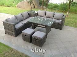 Le Sofa De Rotin D'angle A Placé Le Jardin Extérieur De Meubles De Table À Manger Avec Le Gris De Tabouret