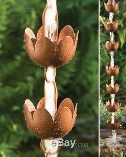 Lily Cup Rain Chaîne Lotus Fleur Métal Jardin Art Décor Pond 96