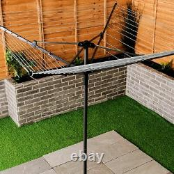 Livivo 45m Garden 4 Arm Rotary Washing Line Clothes Dryer Airer Cover Spike