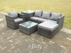 Lounge Sofa De Rotin Ensemble Avec 2 Meubles Jardin Patio Extérieur De La Table De Gris