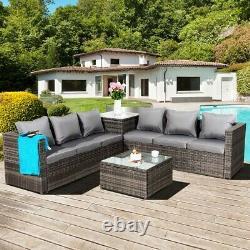 Malte Rattan Wicker Outdoor Garden Furniture Patio 6 Seat Corner Set
