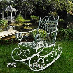 Métal / Acier Jardin Rocking Chair Antique Blanc Vieilli Porche Intérieur Et Extérieur