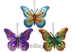 Métal Butterfly Garden Hanging Wall Art Plaque Ornement Décoration