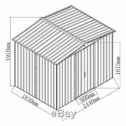 Metal Garden Shed 8x6, 8x8,10x8 Apex Toit Extérieur Jardin Rangement Avec Base Libre