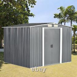 Metal Garden Shed Apex Roof 10x8ft Storage House Tool Sheds With Free Foundation