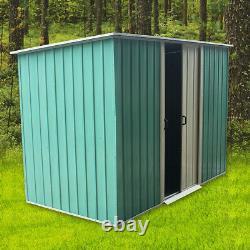 Metal Garden Shed Tool Outdoor Storage Organisateur Sliding Door 6x4 Green