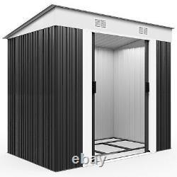 Metal Garden Tool Shed Deuba 6x4ft Stockage Extérieur Aluminium Base Store Acier