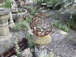 Metal Rusty Garden Art Moderne Décoratif Sphère Ouverte Ornament Balle En Acier
