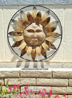 Métal Sun Mur Décor Rustique Fleur Jardin Art Intérieur Sculpture Patio Extérieur