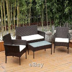Meubles De Jardin 4pcs En Rotin Ensemble De Patio Extérieur Table Chaises Canapé Conservatory Bn