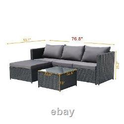 Meubles De Jardin De Rattan 4 Seater Corner Canapé Grande Table Lounge Ensemble De Patio Extérieur