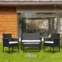Meubles De Jardin En Rotin 4 Pièces Ensemble Table Et Chaises Canapé D'extérieur Ensemble De Jardin Noir