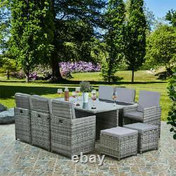 Meubles De Jardin En Rotin Chaises 11pc Tabouret Table Patio Extérieur En Rotin Noir / Brun