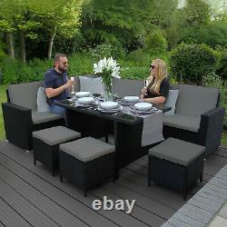 Meubles De Jardin En Rotin Coin Extérieur Sofa Set De Table À Manger Couverture Libre Patio