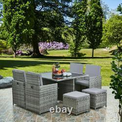 Meubles De Jardin En Rotin Cube Set Chaises Table D'extérieur Patio