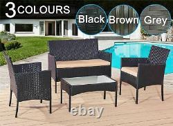 Meubles De Jardin En Rotin Set 4 Chaises Piece Sofa Table D'extérieur