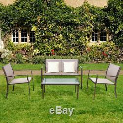 Meubles De Jardin Ensemble De 4 Pièces Table Et Chaises Portier Patio Corridor Brown