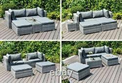 Meubles De Jardin Rattan Canapé Enzo Lounge Lit 5 Pièces Ensemble À L'intérieur Ou À L'extérieur