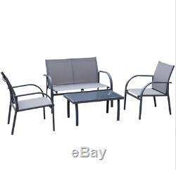 Meubles De Jardin Set Lounge Patio Conservatoire Métal Sofa Chaises De Table En Verre 4pc