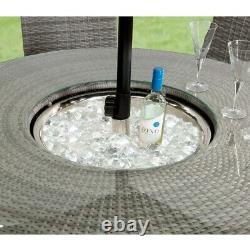 Meubles De Jardin Table Bar En Rotin En Osier 6 Seater Parasol Seau À Glace Rrp £ 1500