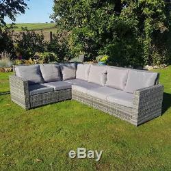 Meubles De Patio En Osier De Jardin En Rotin Gris Avec Chaises De Table Et Canapé D'angle