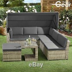 Meubles En Rotin Jardin Engrenage Daybed & Set De Table Canopy Extérieur Canapé Patio Seater