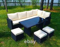 Monroe 8 Seater Garden Rattan Furniture Corner Dining Set Table Sofa Bench Tabouret