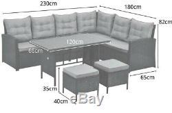 Monroe 8 Seater Meubles De Jardin En Rotin Coin Salle À Manger Set De Table Canapé Banc Tabouret