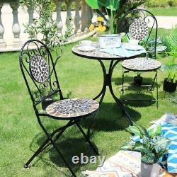 Mosaic Bistro Set De Meubles De Jardin De Patio D'extérieur Et 2 Chaises Cadre En Métal