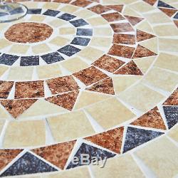 Mosaic Bistro Set Table De Mobilier De Jardin De Terrasse Et 2 Chaises En Métal