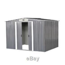 New 8x6ft Garden Shed Métal Apex Toit Extérieur De Stockage Avec Base Gratuit Gris