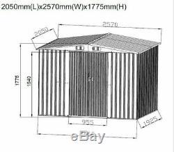 New Garden Shed ' Entreposage En Métal Apex Toit Extérieur 6x8 ' Avec Base Libre