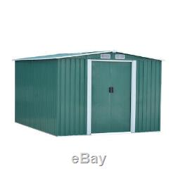 New Shed De Jardin En Métal, 8x10ft Rangement Avec 2 Portes Coulissantes Apex Toit Free Base