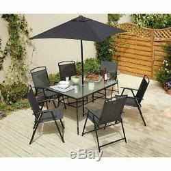 Noir Mobilier De Jardin 6 Places En Métal Salon De Jardin Table Chaises Et Parasol