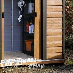 Nouveau 6x5 8x6 10x6 10x8 10x12 Ft Woodgrain Bois Effet Metal Acier Jardin Tin Shed