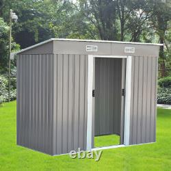 Nouveau 8ft X 4ft Garden Metal Storage Shed Pent Roof Outdoor With Free Base