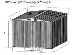 Nouveau Grand Hangar De Jardin En Métal 8x10ft Apex Stockage D'outil De Toit Avec La Fondation Libre