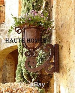Nouveau Horchow Français Scroll Urn Mur Rustique Fer Planteur Sur Jardin Support
