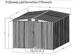 Nouveau Jardin En Métal Shed 8x10ft Apex Toit Outil Vélo De Stockage Shed Avec Free Base