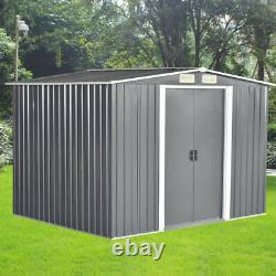 Nouvelle Qualité 8x6 Ft Garden Shed Metal Apex Roof Outdoor Storage With Free Base