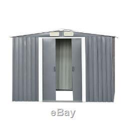 Nouvelle Qualité 8x6 Ft Jardin Shed D'extérieur En Métal Apex Toit Stockage Avec Base Gratuit