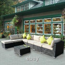 Outdoor 8pc Garden Rattan Corner Canapé Set Patio Meubles Wicker Outdoor Black