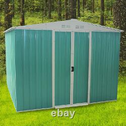 Outdoor Heavy Duty 8x6ft Metal Garden Shed Apex Roof Storage With Free Base