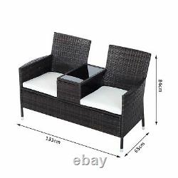 Outsunny 2 Seater Rattan Chaise Jardin Meubles Patio Love Siège Avec Table Brown
