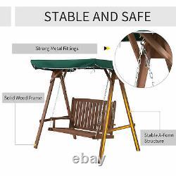 Outsunny 2 Seater Wooden Garden Swing Chair Siège D'extérieur Loveseat Meubles