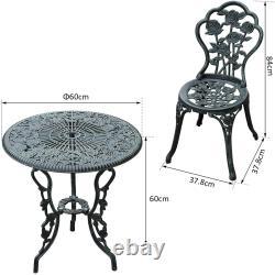 Outsunny 3 Pc Bistro Set Cast Aluminium Garden Balcony Table 2 Chaises
