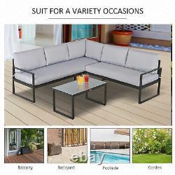Outsunny 3 Pcs Ensemble De Conversation De Meubles De Jardin Avec Loveseat 3 Seater Canapé Table