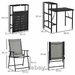 Outsunny 3 Pcs Polding Garden Furniture Set Avec Plateau Latéral Extérieur Patio Balcon